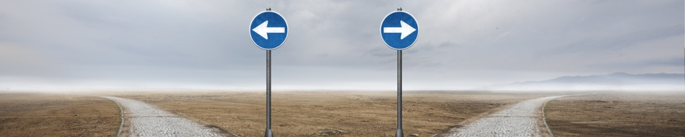 two roads going different directions